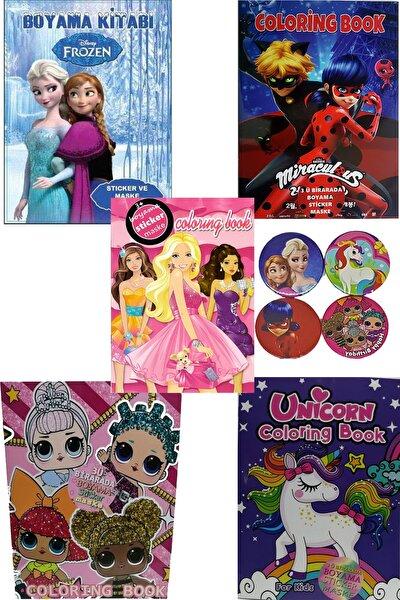 4'lü Süper Boyama Kitabı Seti(Frozen,lol,unicorn,mucize Uğur Böceği)sticker+maske+4 Rozet Hediye