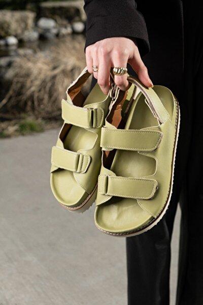 Kadın Mat Mint Yeşili Cırtlı Sandalet