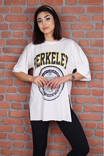 0700-2616 Berkeley Baskılı Kollları Katlamalı T-shirt