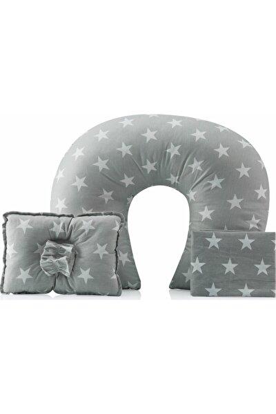Anne Emzirme Seti Emzirme Yastığı + Örtüsü + Kafa Minderi Yıldız Desenli 3'lü Set