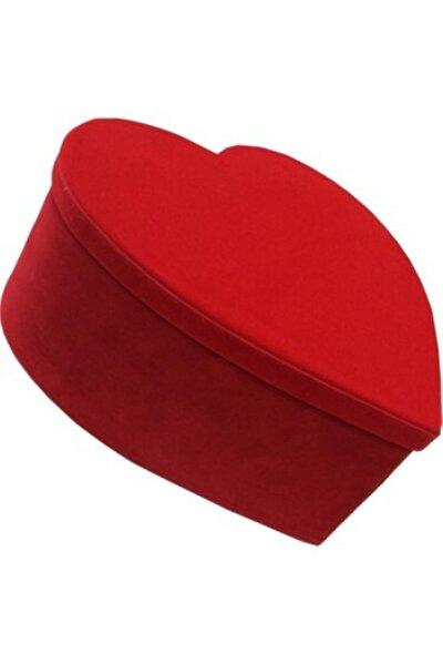 Hediye Kutusu Kadife Kırmızı Kalpli Küçük Boy