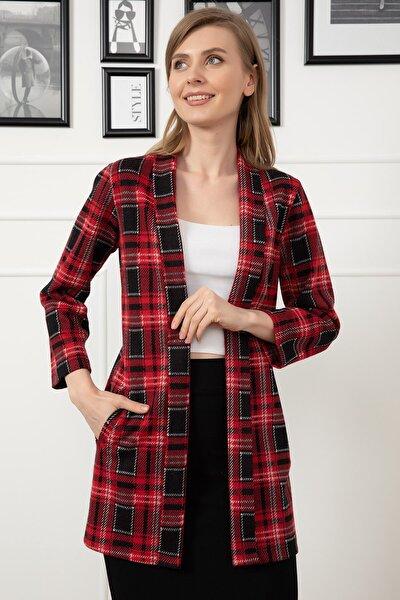 Kadın Kırmızı Şal Yaka Cepli Ceket