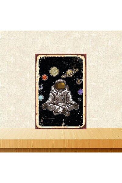 Yoga Yapan Astronot 20-30 Cm Retro Ahşap Tablo Tkfx5133