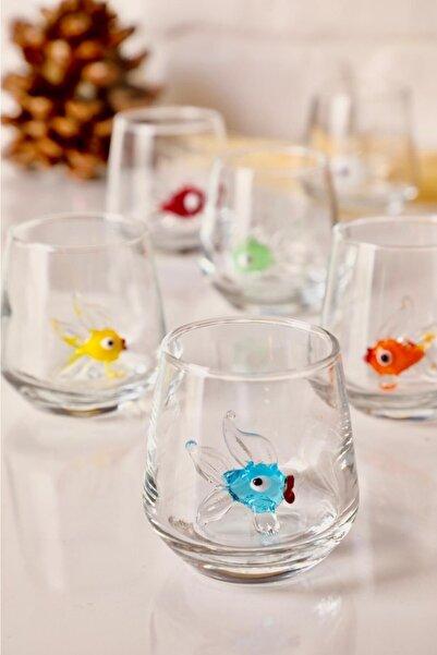 Balık Figürlü 6'lı Kahve Yanı Su Bardağı Seti (canlı Seri)