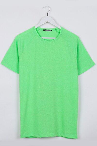 Neon Yeşil Reglan Kol Basic Unisex Tshirt