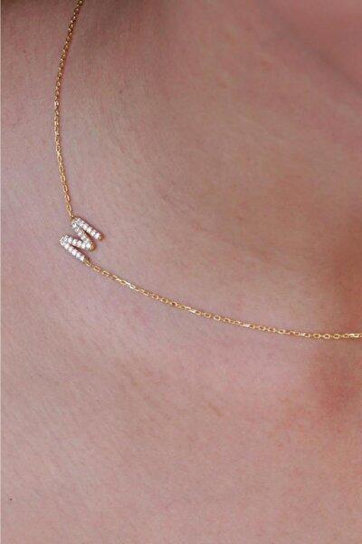 Taşlı M Harfi Gold Kaplama 925 Ayar Gümüş Kolye