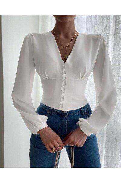 Kadın Beyaz Düğme Detaylı Balon Kol Gömlek