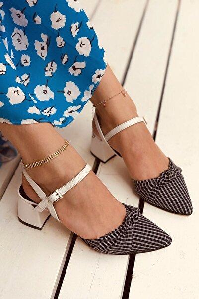 Kadın Mila Beyaz Mat Siyah Ekose Topuklu Ayakkabı