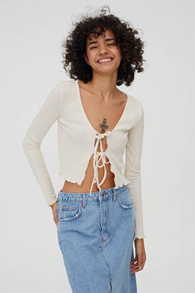 Kadın Bağcıklı Fitilli T-shirt