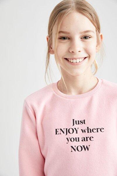 Kız Çocuk Kelebek Baskılı Selanik Kumaş Sweatshirt
