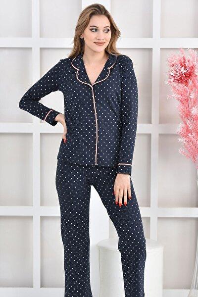 Lacivert Yıldız Baskılı Likralı Örme Pijama Takımı Nd-2006