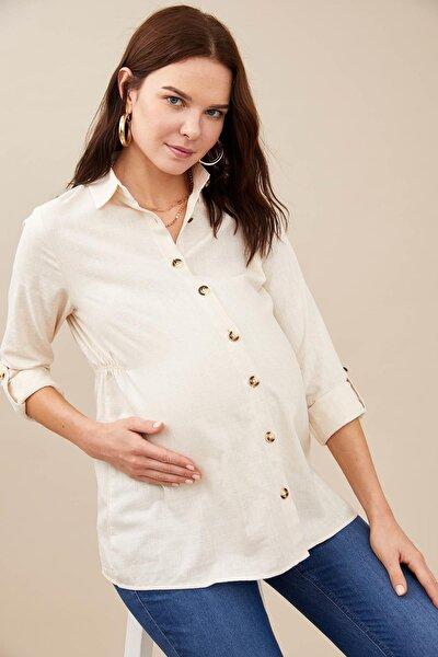 Hamile Beli Büzgülü Uzun Kollu Gömlek