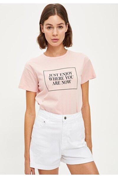 Yazı Baskılı Kısa Kollu Tişört