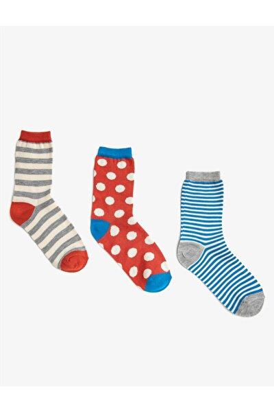 Kadın Kırmızı Puantiyeli Desenli Pamuklu 3'lü Çorap Seti