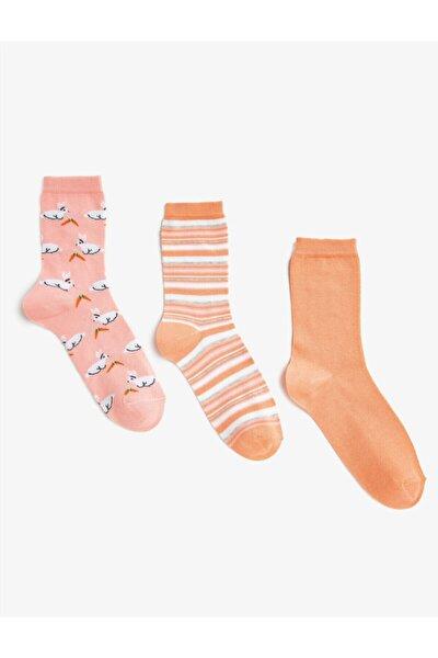 Kadın Pembe Çizgili Desenli Çorap Seti Pamuklu 3'lü
