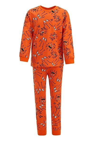 Erkek Çocuk Baskı Desenli Uzun Kol Pijama Takım