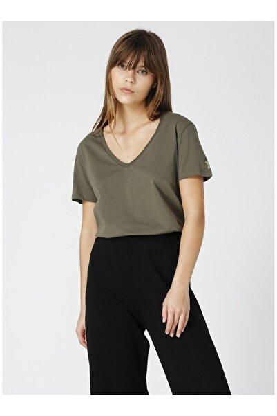 Teyo Haki V Yaka Kadın T-shirt