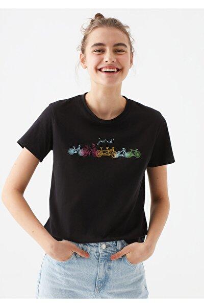 Kadın Siyah Bisiklet Baskılı Tişört