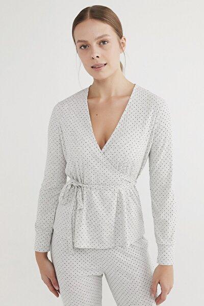 Kadın Açık Gri Melanj Dotsy Envelope Pijama Takımı