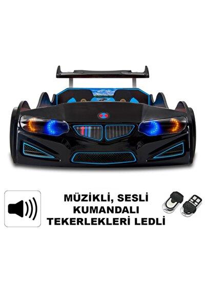 Bmw - Full - Araba Karyola - Tekerleri Ledli - Siyah