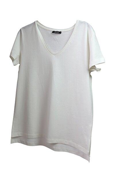 %100 Pamuk V Yaka Örme T-shirt