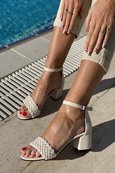 Kadın Tek Bant Ince Örgü Bilekli Topuklu Ayakkabı