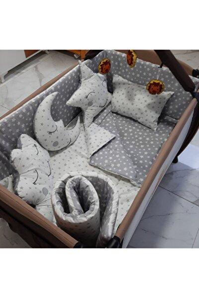 70x110 Park Beşik Gri Yıldızlı Bebek Uyku Seti 10parça (3234kombin)