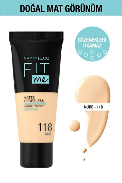 Fit Me Matte+poreless Fondöten - 118 Nude