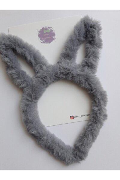 Tavşan Kulaklı Çocuk Peluş Taç/gri