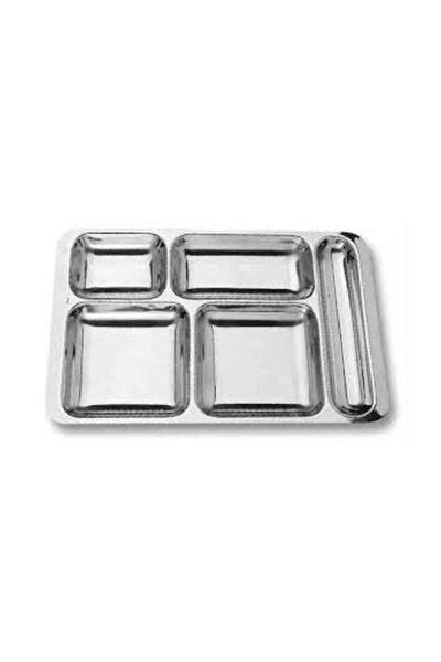 Kırılmaz Metal Yemek Tabldot Tabağı 5 Bölmeli