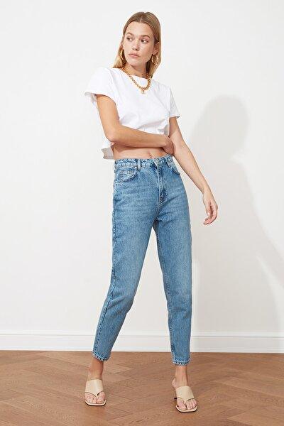 Açık Mavi Yüksek Bel Mom Jeans TWOSS21JE0016