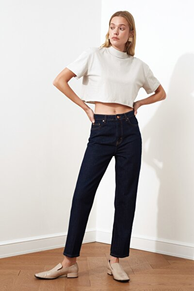 Lacivert Çizgi Ütü İzli Yüksek Bel Mom Jeans TWOSS21JE0047