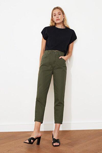 Haki Beli Lastikli Yüksek Bel Mom Jeans TWOAW21JE0630