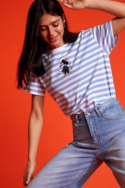 Mickey Mouse Lisanslı Oversize Fit Kısa Kollu Çizgili Tişört