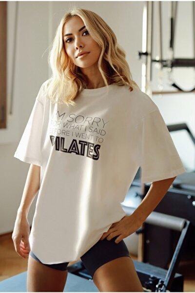Kadın Beyaz %100 Pamuk Bisiklet Yaka Oversize Boyfriend Yarım Kollu Pilates T-shirt
