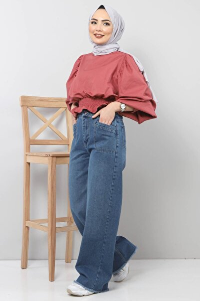 Kadın Açık Mavi Cep Detaylı Bol Paça Pantolon Tsd22023
