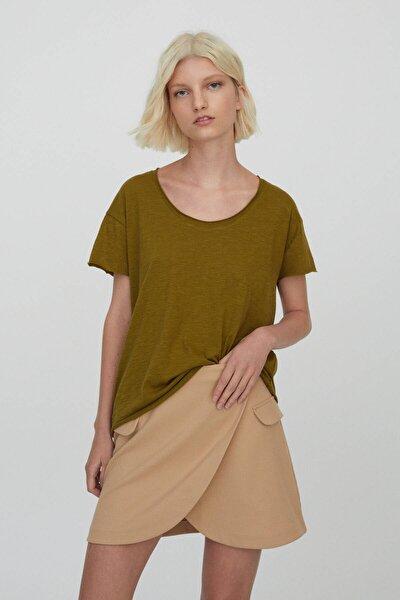 Kadın Haki Bordür Detaylı Basic T-Shirt 09247432