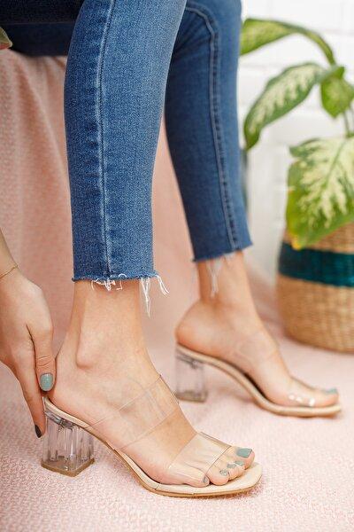 Bej Şeffaf Kadın Şeffaf Topuklu Ayakkabı Md1050-119-0001