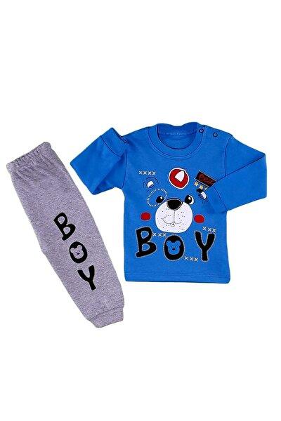 Erkek Bebek Çocuk 2 Li Alt Üst Baskılı Pijama Eşofman Takım