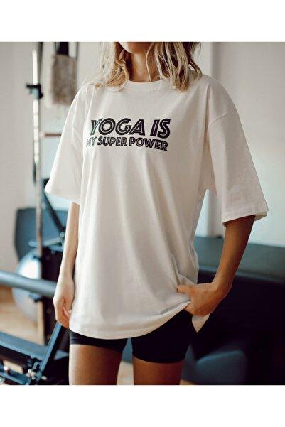 Kadın Beyaz %100 Pamuk Bisiklet Yaka Oversize Boyfriend Yarım Kollu Yoga T-shirt
