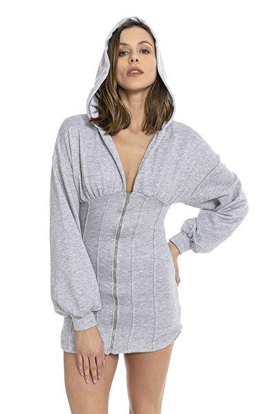 Kadın Fermuarlı Ve Kapşonlu Sweat Elbise