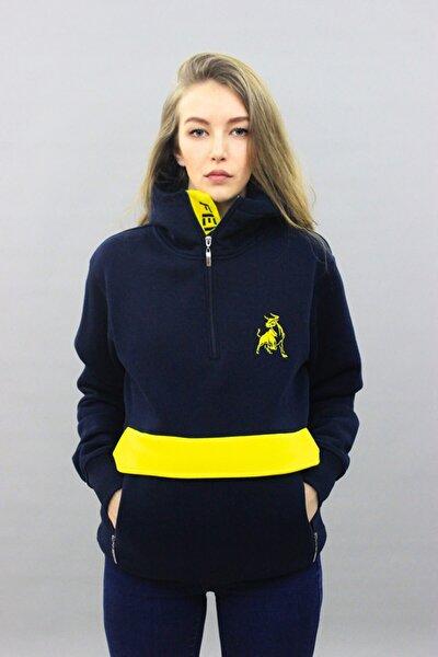 Kadın Sarı Lacivert Kanguru Cepli Kapüşonlu Sweatshirt