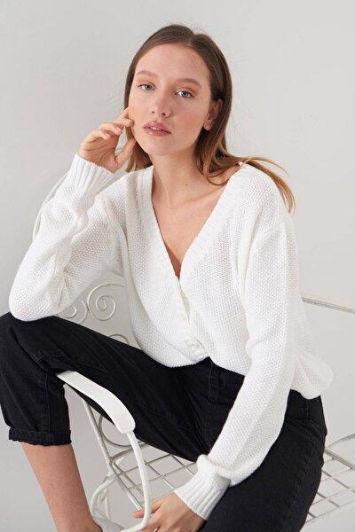Kadın Ekru Örgü Hırka H3015 - U13 ADX-0000019205