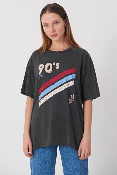 Kadın Füme Baskılı T-Shirt P9388 - I12 Adx-0000021594