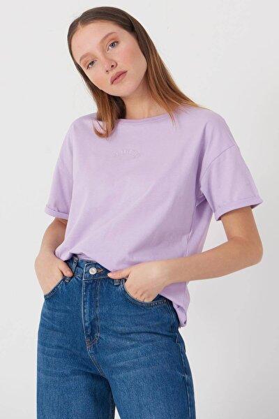 Kadın Lila Yazı Detaylı T-Shirt P0659 - Dk12 Adx-0000018505