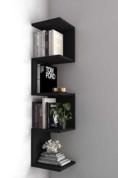 Ivy Dekoratif Zig Zag Köşe Duvar Rafı / Kitaplık Siyah