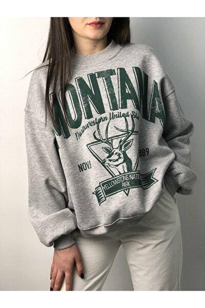 Kadın Gri Montana Baskılı Sweatshirt