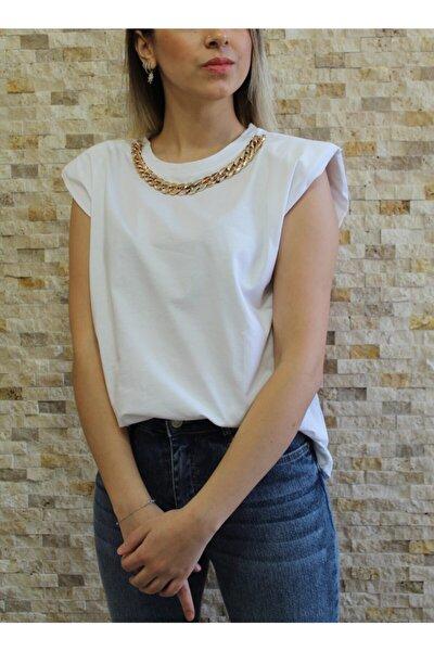 Kadın Beyaz Zincir Detaylı Tshirt