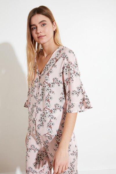 Pudra Fırfırlı Dokuma Pijama Takımı THMSS21PT0127