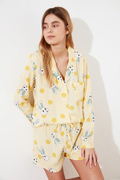 Sarı Tavşan Baskılı Dokuma Pijama Takımı THMSS21PT0302